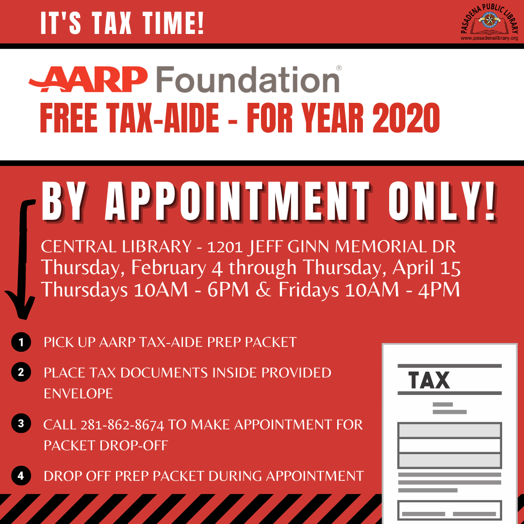 AARP will provide Curbside Service by-appointment-only instead of their usual in-person tax prep at our Central Library (1201 Jeff Ginn Memorial Dr).  AARP is now taking calls for appointments! To book an appointment call 281-862-8674.