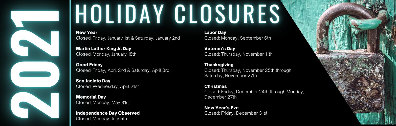 2021 Library Holiday Closures