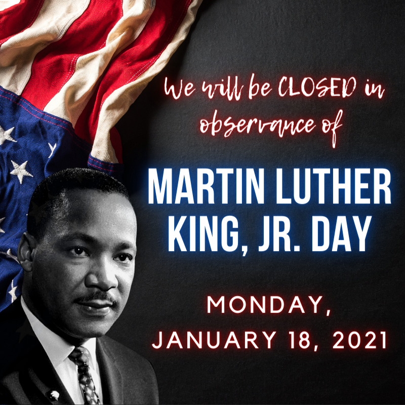 The Pasadena Public Library will be CLOSED Monday, January 18 in observance of Martin Luther King, Jr. Day!  Both library locations will reopen on Tuesday, January 19, 2021 at 10:00AM!